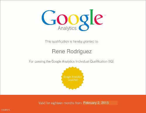 Google Analytics Individual Qualificaction. Rene Rodriguez