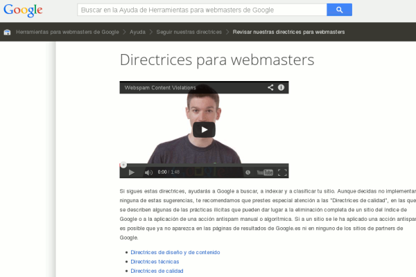 Imagen de Directrices para Webmasters de Google