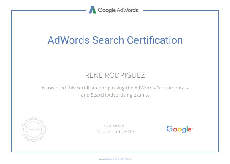 Certificación Google AdWords Rene Rodriguez 2017