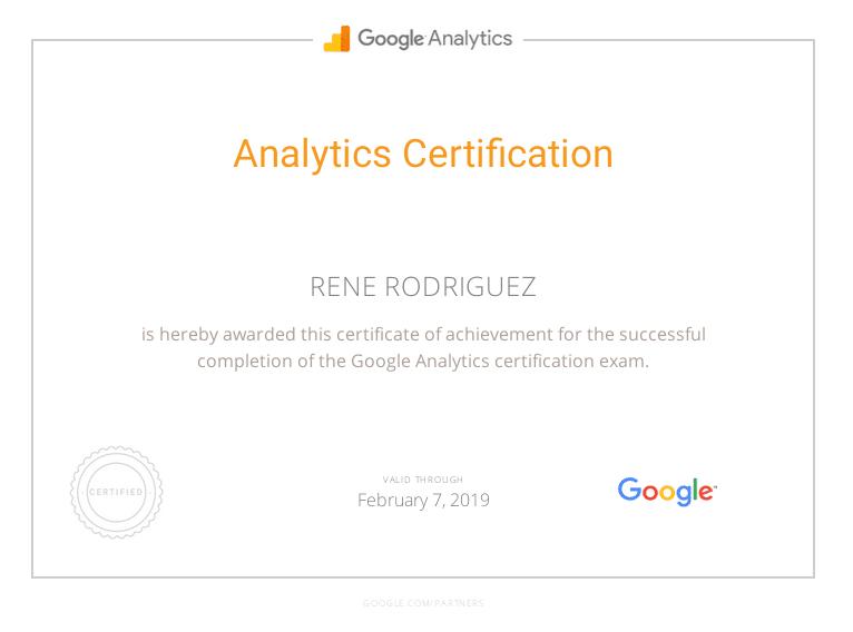 Certificación Google Analytics Rene Rodriguez 2019