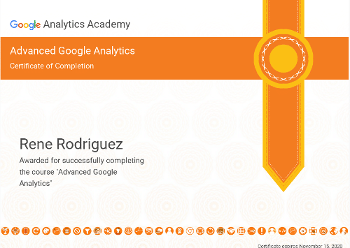 Advanced Google Analytics - Certificate of Completion